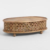 Oval Tribal Carved Wood Coffee Table