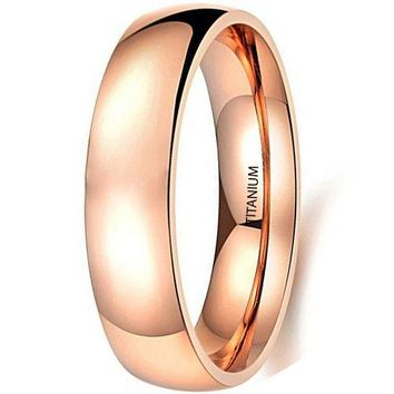 CERTIFIED 5mm Simple Style IP Rose Gold Plated Titanium Stainless Steel Wedding Engagement Ring Band
