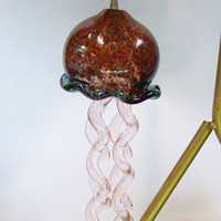 Handmade Handblown Glass Jellyfish Suncatcher Windchime beach #4