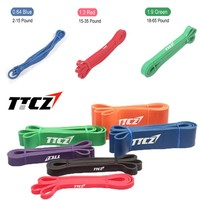 100% Premium Natural Latex CrossFit Fitness Resistance Rubber Expander Bands Set, Power Exercise Pull Rope width 0.64/1.3/1.9cm