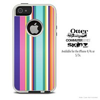 The Solid Colored Vertical Striped Skin For The iPhone 4-4s or 5-5s Otterbox Commuter Case