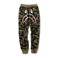 Bape shark camouflage couple trend trousers Green