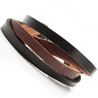 Mens Combo Chic Black and Brown Leather Bracelet Cuff New in Box