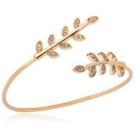 New Fashion Double Leaf Bracelet Bangles for Women Classic 18k Gold Ajustable Wire Plant Leaf Cuff Bangles Wedding Gift