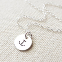 Hand Stamped Anchor Charm Necklace, Sterling Silver Small Circle Necklace, Nautical Pendant, Unique Gift, Beach, Ocean, Gift for Her
