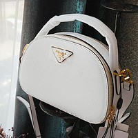 PRADA Newest Fashionable Women Shopping Leather Handbag Shoulder Bag Crossbody Satchel White