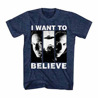 X-Files I Want To Believe Blue T-Shirt