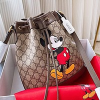 GUCCI x Disney Women Fashion Mickey Mouse Print Leather Bucket Bag Crossbody Satchel Shoulder Bag