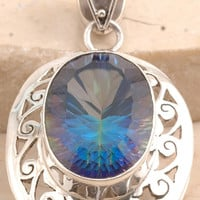Incredible Mystic Topaz Pendant Set in 925 Sterling Silver