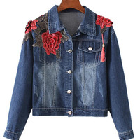 Floral Embroidered Buttoned Down Denim Jacket