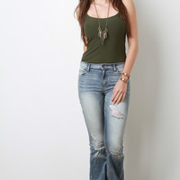 Faded Distressed Flared Jeans