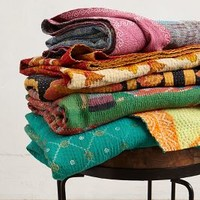 Hand-Stitched Kantha Throw by Anthropologie in Multi Size: One Size Throws