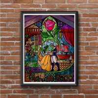 Beauty And The Beast (stained glass full) Photo Poster