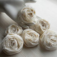 """2"""" Ivory Shabby Chic Cotton Rolled Roses Set of 20 for bouquet making, diy weddings, mason jars, shabby chic rustic weddings. Made to Order."""