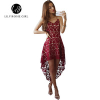 Hollow Out Sexy Wine Red Women Dress Off Shoulder Strap Lace Maxi Long Beach Party Dresses V Neck Autumn Winter Evening Vestidos