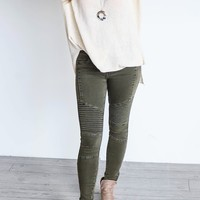 Early Riser Olive Moto Jeans