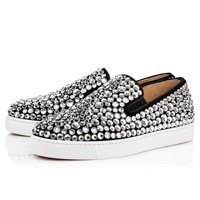 Roxxxy Navy Flat Version Black Strass - Women Shoes - Christian Louboutin