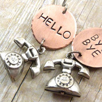 Whimsical Telephone Earrings Copper Discs Letter Word Stamped Hello Bye Bye Novelty Silver Mixed Metal