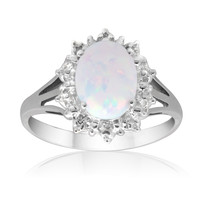 Created Opal and Genuine Diamond Accent Starburst Sterling Silver Ring