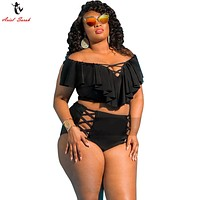 5XL Large Size Bikini Set Women Sexy Plus Size Swimwear Big High Waist Bikini Bathing Suit Offer Shoulder Monokini