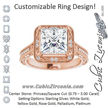 Cubic Zirconia Engagement Ring- The Eowyn (Customizable Vintage Artisan Princess/Square Cut Design with 3-Sided Filigree and Side Inlay Accent Enhancements)