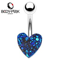 BODY PUNK Trendy Navel Percing Nombril Blue Volcanic Stone Heart-Shaped Belly Button Rings For Sexy Women Body Piercings Jewelry