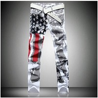 Designer Jeans men robin jeans Famous brand Denim with Wings American Flag