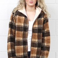 Plaid Print Sherpa Fleece Jacket {Mocha Mix}