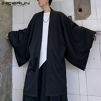 2020 Men Trench Cardigan Open Stitch Loose Long Sleeve Streetwear Punk Solid Color Fashion Long Coats Mens Cloak Capes INCERUN (Black One Size)