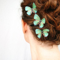 three handmade emerald green silk butterfly hair clips . 'emerald gypsies' . pure dupioni silk