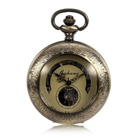 SHUHANG Brand Steampunk Mechanical Mens Pocket Watch Roman Number Half Hunter See Though Bronze Tone Case Luxury Timepiece
