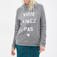 FOREVER 21 French Graphic Hoodie Charcoal/White