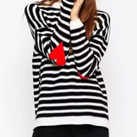 Black and White Striped Heart Pattern Long Sleeve Sweater