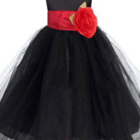 Black Layered Tulle Flower Girl Dress with Custom Sash & Flower 6M-10