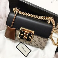 GUCCI Women Fashion Classic Shopping Leather Metal Chain Tote Shoulder Bag Crossbody Satchel
