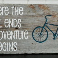 "Rustic Barnwood Wall Art Hand-Painted Wood Sign - ""Where the Trail Ends the Adventure Begins"""