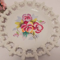 Wall Hanging Plate Decorative Dish Vintage Lefton China Hand Painted White Porcelain with Floral Design