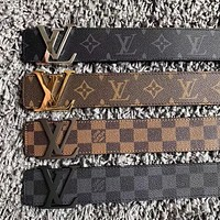 LV Louis Vuitton Classic Popular Women Men Metal Smooth Buckle Monogram Leather Belt