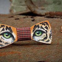 FREE SHIPPING Tiger wooden bow tie. Hand painted. Handicraft unique gift. #JVbowtie