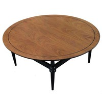Pre-owned Mid-Century Black Pinstripe Wooden Coffee Table