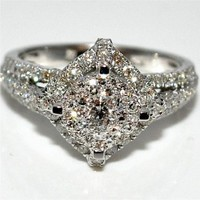1.23ctw Vintage Engagement Bridal Wedding Ring 14K White gold Pave Sides Solitaire