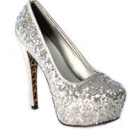 Silver Sequin Platform Heels with Leopard Print Sole