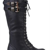 Tall Lace Up Combat Boot with Buckled Side Straps