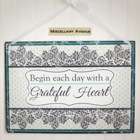 Shabby Chic Decor / Shabby Chic Sign / Inspirational Sign Quote / Thankful Sign / Damask Decor / Housewarming Gift / Polka Dots