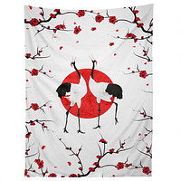 Belle13 Love Dance Of Japanese Cranes Tapestry