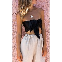 Beyond Wild Strapless V Neck Tie Front Bandeau Crop Top - 3 Colors Available