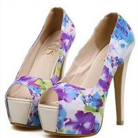 Flora Print High Heels with Peep Toe Design Blue BMASD436 from topsales