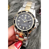 Rolex Fashion Women Men Casual Quartz Sport Movement Couple Watch Wristwatch Sliver Gold Watchband Black Dial I-Fushida-8899