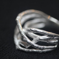 Handmade Tree branch Thai Sterling Silver Ring Size 6,8