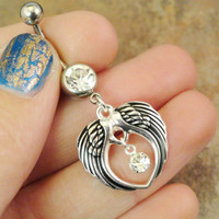 Antiqued Silver Double Angel Wings Belly Button Ring